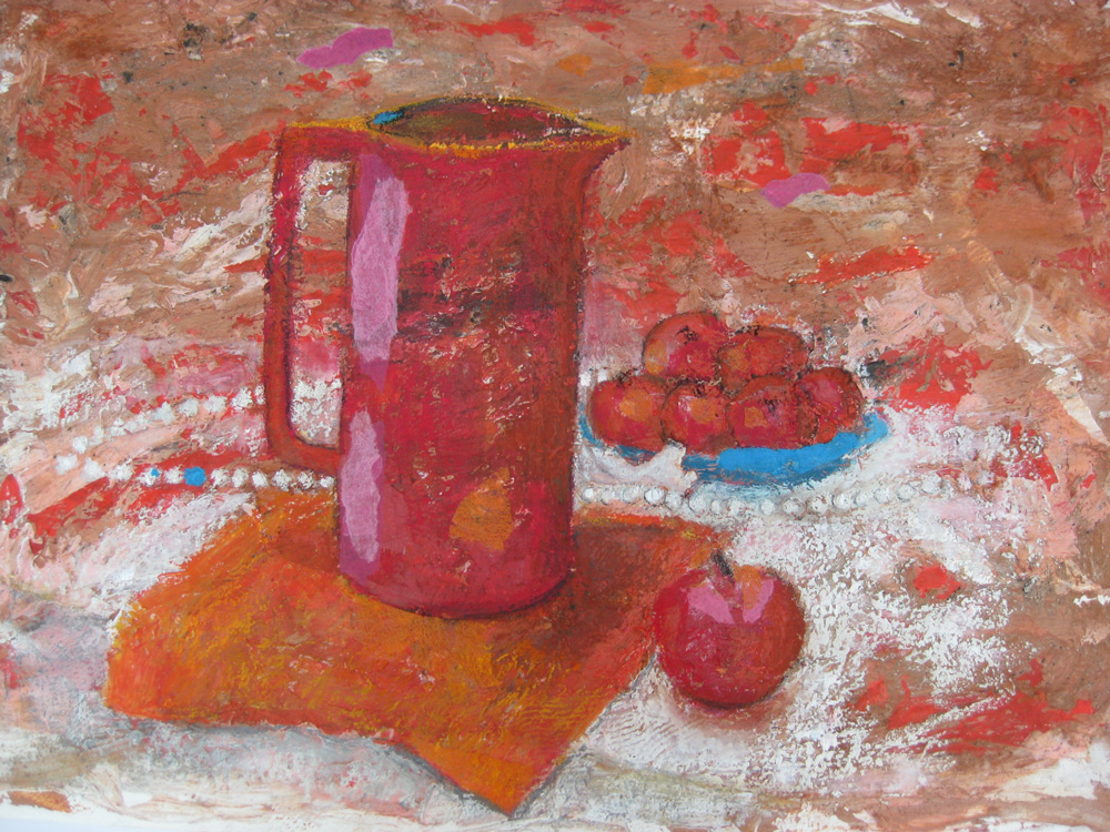Red Jug with Apples